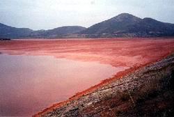Hồ chứa bùn đỏ thải ra qua quá trình luyện nhôm ở Ấn Độ