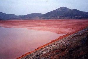 Hồ chứa bùn đỏ tại một địa điểm khai thác bôxit tại Ấn độ