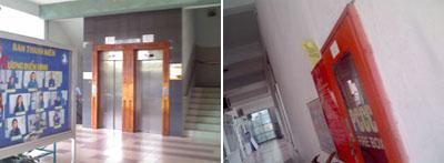 Trường đại học Tôn Đức Thắng tại quận Bình Thạnh, Sài Gòn ... với những tờ rơi trên tường