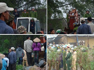 Người dân Xã Trường Yên, huyện Chương Mỹ, Hà Nội chống chính quyền cướp đất của dân. (Nguồn: Dân Lên Tiếng)