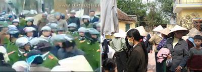 Nông dân tại ba xã Xuân Quang, Cao Cửu, Phùng Công thuộc huyện Văn Giang, tỉnh Hải Hưng đã tập trung trước văn phòng chính phủ phản đối việc nhà nước đã cưỡng chế chiếm đất. (Nguồn: danlentieng.net)