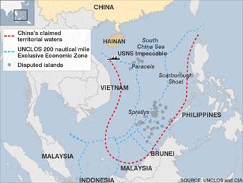 Vị trí đụng độ tại Đông hải