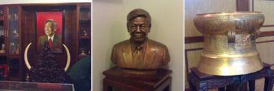 Nhà ông Lê Khả Phiêu chưng bày nhiều đồ quý, kể cả hình, tượng của chính ông.