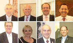 Từ trái sang phải: TNS Gary Humphries, TNS Russell Trood, TNS David Feeney, TNS Brett Mason, TNS Mark Furner, DB Kerry Rea, DB Bernie Ripoll, DB Luke Simpkins.